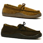 Mens New Faux Leather Suede Warm Winter Moccasin Fur Lined Slippers Shoes Size