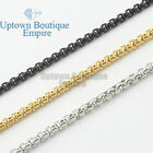 "18-36"" Men Stainless Steel Gold Silver Black Pearl Box Necklace Chain"