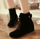 Womens Faux Suede Chic Decor Wedge Heel Lace Up Round Toe Flats Ankle Snow Boots