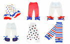 Patriotic 4th of July Leggings Pettipants Legwarmers Red Blue Party Pageant NWT
