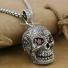 Huge & Heavy Ruby Eyes Skull 925 Sterling Silver Mens Biker Pendant 9E007A