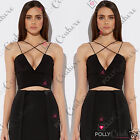 Womens Sexy Black Fitted Bustier Bralet Deep Plunge V Neck Sleeveless Crop Top