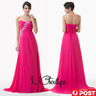 Hot Pink Chiffon Jewel Strapless Prom Bridesmaid Wedding Maxi Dress Size AU6-20