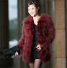 New Arrival Real Farm Ostrich Feather Fur Long Coat Jacket Warm Winter Stylish