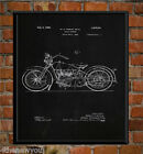 1928 Harley Davidson Old Motorcycle Chalkboard Art Poster Patent Print Gift Idea