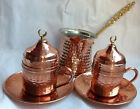 Turkish Coffee Set PURE Copper Porcelain Cups Copper Cezve Handhammered -M01