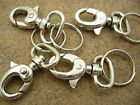 Bag Clasps Lobster Swivel Trigger Clips with Split Rings Silver Plated 9220S
