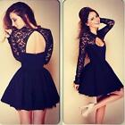 Sexy Women Floral Long Sleeve Lace Backless Evening Party Mini Dress Hottest