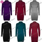 Womens Ladies Long Sleeve Fine Knitted Roll Turtle Neck Tunic Bodycon Mini Dress