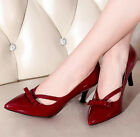 Womens Pointed Toe Pumps BowTie Elegent Sexy High Heels Slim Patent Shoes