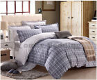 Grey Grid 3PC 100% Cotton Bedding Set: 1 Duvet Cover 2 Pillowcases  King Size