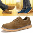 Fashion Mens Lace Up Faux Suede Flats Casual Low Top British Round Toe Shoes