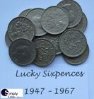 Lucky Silver Sixpences 1947 - 1967 Buy 2 get 2 - Birthday/anniversary FREE post!