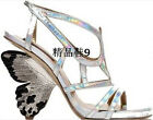 sexy womens butterfly open toe real leather high heel sandals party club shoes