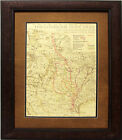 W842 Lonesome Dove Trail Map, Custom Frame, Western Art Rustic Decor