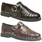 Mens Brand New Boys New Black / Brown Leather Fastening Sandals UK 3 - 12