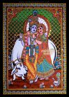 krishna radha sacred cow sequin wall hanging hindu divine tapestry decor India