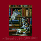 New T-shirt Kitty Cat Library Cute Books Reading Theresa Mather OffWorld Designs