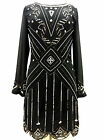 New Black 1920's Gatsby fully embellished shift dress sizes 8 10 12 14 16 18 20