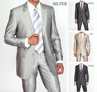Men's 2pc Shiny Slim Fit Suits Set 2 Button in Black,Gray,Tan,Silver 5702-1B