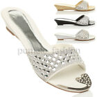 WOMENS LADIES LOW WEDGE DIAMANTE WEDDING EVENING FLIP FLOPS MULES SANDALS SIZE