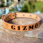 """TAN 5/8"""" Stained Personalized Pet Name & Paw Prints Small Leather Dog Collar"""