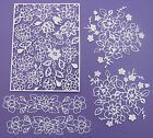 A set of 5 Tattered Lace 'Adele' flower panel and border die-cuts on 300gsm card