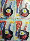 Cosy Village Let's Cook Toy Food and Cooking Set (Sausage and Egg) Blue or Red