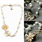 New Womens Fashion Crystal Beads Circle Clover Flower Chain Necklace M502DG
