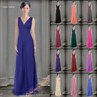 New Bridesmaids Dresses Long Wedding Gowns Prom Evening Dress V-Neck Size 6-26