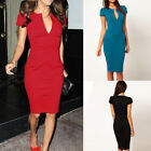 Hot Sexy Women Fashion Deep V neck Bodycon Business Slim Party Pencil Dress S-L