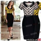 Ladies Casual Polka Dot Rockabilly Party Doll Collar Bodycon Cocktail Dresses