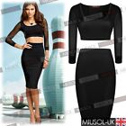 Women;s Black Two Piece Crop Tops and Bodycon Skirts Black Ladies Dresses 810246