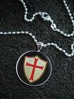 Sterling Silver Knights Templar Shield with Red Cross NECKLACE