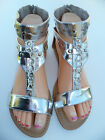 WOMEN'S GLADIATOR THONG SANDALS SIZES: 6,6.5 SILVER
