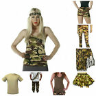 ARMY CAMOUFLAGE FANCY DRESS OUTFIT COSTUME TUTU TOP SKIRT ACCESSORIES ADULT VEST