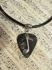 His or Her Musical Note Leather Guitar Pick Necklace! 9 color options!