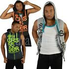 Crosshatch Neon Cord Sleeveless Hooded Gilet Top  Mens Size