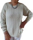 Ladies Plus Sizes Beige Cable Knit Jumpers UK Size 20 - 34