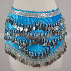 Silver Gold Coins Sequins Beads Band Belly Dance Hip Scarf Wrap Belt Velvet