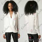 Womens Navy White Wrap Shirt Party Tshirt Long Sleeve Ladies Party Evening Dress