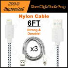 3x 6FT Braided Nylon USB Charger Cable Data Sync Cord Fit All iPad Mini iPad Air