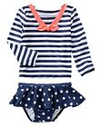 NWT Gymboree Dot Skirted Sailor Striped Rash Guard Swimsuit Set Rashguard 5T