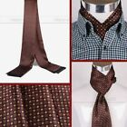 Gifts Mens 100% Mulberry Silk Long scarf Scarives Double Layer  Brown_For Spring