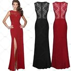 Women's Vintage Lace Split Side Long Maxi Evening Cocktail Wedding Party Dresses