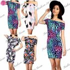 Womens Ladies Print Short Sleeve Bardot Off Shoulder Tunic Bodycon Mini Dress