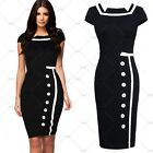 Women's Navy Style Sailor Vintage Black Bridesmaid Formal Pencil Party Dress New