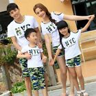 New Summer cotton Family outfits Camouflage Family t shirt+pants Sets clothes