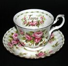 ROYAL ALBERT ' FLOWER OF THE MONTH  ' COFFEE CUP & SAUCER - ENGLISH BONE CHINA