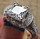 3ct Estate Princess cut White Sapphire 925 Sterling Silver Fashion Cocktail Ring